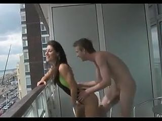 Balcony duck in swimsuit! :)