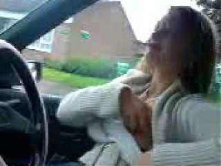 Essex Girl Fran Flashing Tit in Car Again