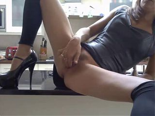Squirting on Kitchen Table-L1390-