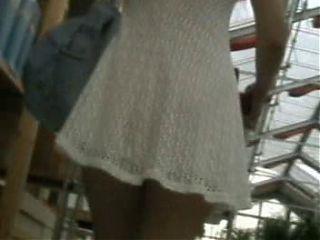 Pantyless shopping upskirt