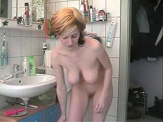 Amateur - German Big Boob Brunette Shower Shave