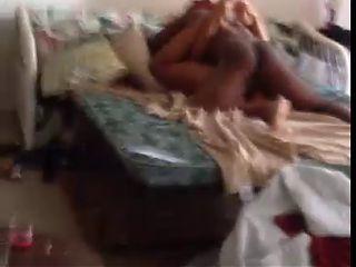 black rachet chick being filmed wid her dude