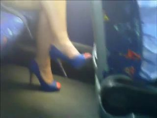 Sexy legs on train. hidden cam