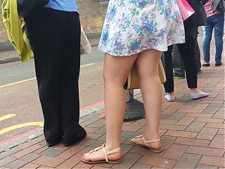 Taskmasters Travels 11: Teen in short dress on windy day