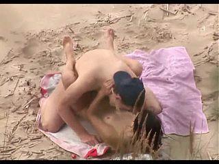 Voyeur on public beach. Great sex with hot girl