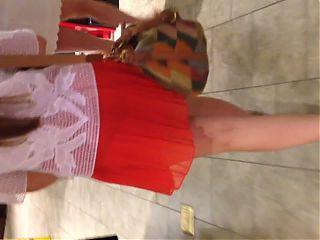 White teen in see thru red skirt