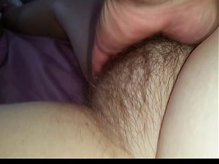 fingering the wifes chubby hairy pussy to Orgasm