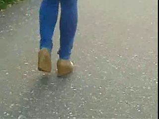 Candid #149 Girl in tight jeans and nice shoes