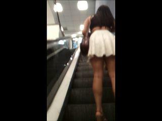 Hot Brunette Escalator